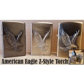 American Eagle Turbo Torch Flame Lighter Wind Resistant  Z-Style Butane Refillable