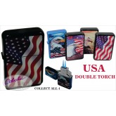USA Double Torch Lighter Set of 4