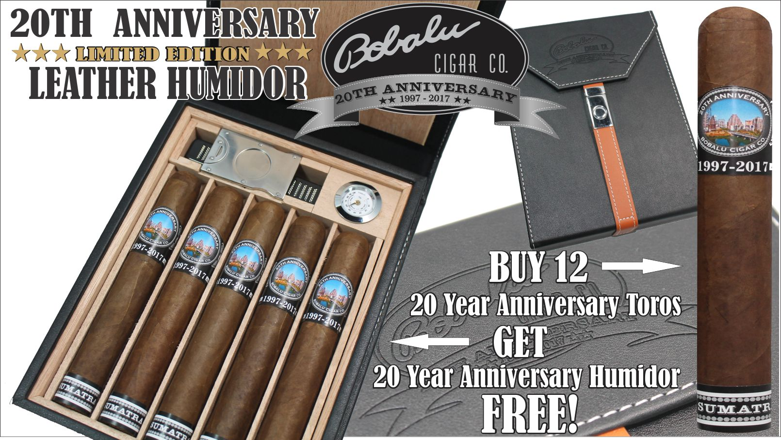 20th Anniversary Cigar Leather Humidor