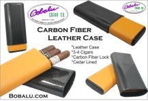 Carbon Fiber Black & Yellow Leather Cigar Case