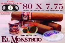 El Monstruo 80 x 7.75 single cigar with a FREE 80 ring cigar cutter
