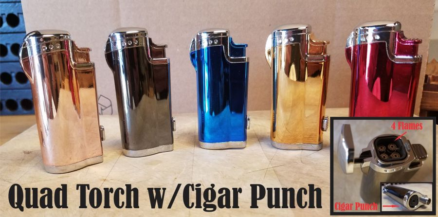 Quad Torch w/cigar punch Mirror finish (colors may vary)