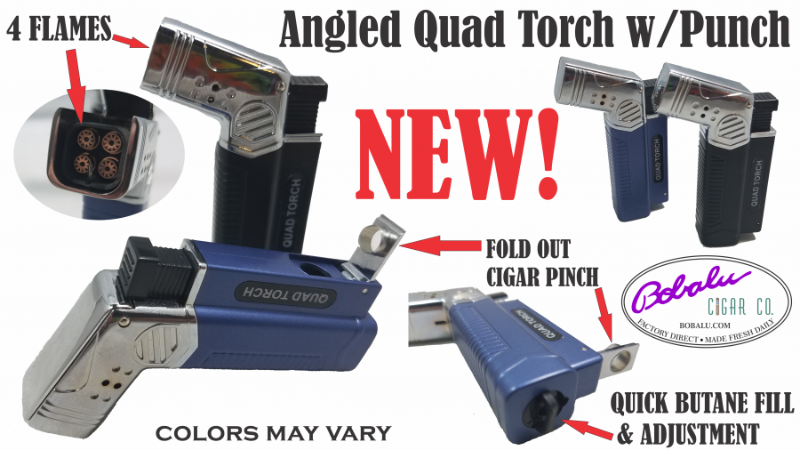 Angled Quad Torch w/ fold-out cigar punch  (colors may vary)